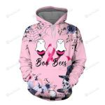 Breast Cancer Awareness Boo and Bees 3D All Over Print Hoodie, Zip-up Hoodie