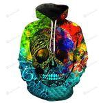 Multicolor Skull 3D All Over Print Hoodie, Zip-up Hoodie