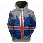 Iceland Flag Brick Design 3D All Over Print Hoodie, Zip-up Hoodie