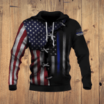 Thin Blue Line And American Flag 3D All Over Print Hoodie, Zip-up Hoodie
