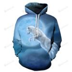 White Wolf Blue Moon 3D All Over Print Hoodie, Zip-up Hoodie