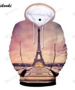 France Paris Eiffel Tower 3D All Over Print Hoodie, Zip-up Hoodie