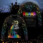 Halloween Rainbow Witch Ride With Pride 3D All Over Print Hoodie, Zip-up Hoodie