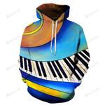 Animated Piano Keys 3D All Over Print Hoodie, Zip-up Hoodie