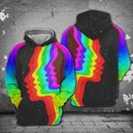 LGBT Color Face 3D All Over Print Hoodie, Zip-up Hoodie