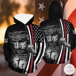 Jesus Don't Be Afraid Just Have Faith The Thin Red Line 3D All Over Print Hoodie, Zip-up Hoodie