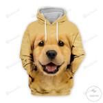 Cute Puppy Golden Retriever 3D All Over Print Hoodie, Zip-up Hoodie
