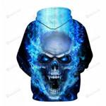 Blue Skull 3D All Over Print Hoodie, Zip-up Hoodie