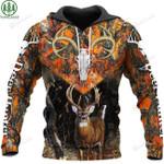 Beautiful Deer Fire Hunting 3D All Over Print Hoodie, Zip-up Hoodie