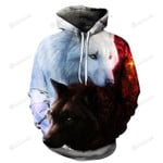 Wolf Balck And White 3D All Over Print Hoodie, Zip-up Hoodie