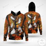 Halloween Ghost Cat Pumpkin 3D All Over Print Hoodie, Zip-up Hoodie