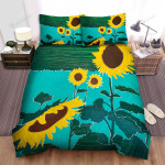 Sunflower Art Design Bed Sheets Spread Comforter Duvet Cover Bedding Sets