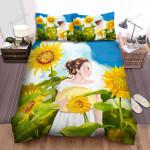 Sunflower Girl In The Sunflower Field Bed Sheets Spread Comforter Duvet Cover Bedding Sets