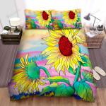 Sunflower Illustration Art Bed Sheets Spread Comforter Duvet Cover Bedding Sets