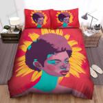 Sunflower Short Hair Black Girl Bed Sheets Spread Comforter Duvet Cover Bedding Sets
