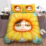 Sunflower Cat Cute Art Bed Sheets Spread Comforter Duvet Cover Bedding Sets
