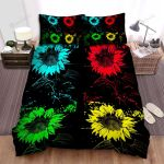 Sunflower Black Green Blue Red Yellow Bed Sheets Spread Comforter Duvet Cover Bedding Sets
