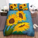 Sunflower Watercolor Drawing Bed Sheets Spread Comforter Duvet Cover Bedding Sets