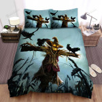 Scarecrow, Halloween, Crows And Scare Crow Bed Sheets Spread Duvet Cover Bedding Sets