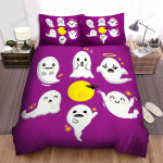 Halloween Adorable Emotions Of Ghosts Bed Sheets Spread Duvet Cover Bedding Sets