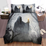 Halloween Faceless Ghost Walking In Graveyard Bed Sheets Spread Duvet Cover Bedding Sets