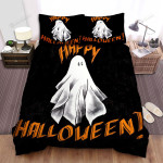 Happy Halloween With Spooky Ghost Bed Sheets Spread Duvet Cover Bedding Sets
