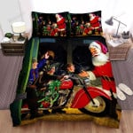 The Elves Taking Red Motor For Santa Claus In Christmas Bed Sheets Spread Duvet Cover Bedding Sets