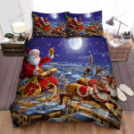 Santa Claus Joy On The Sleigh In Christmas Night  Bed Sheets Spread Duvet Cover Bedding Sets