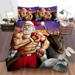 Muscle Santa Claus With Merry Christmas Gloves  Bed Sheets Spread Duvet Cover Bedding Sets
