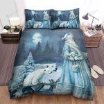 Polar Bears Behind Santa Claus Bed Sheets Spread Duvet Cover Bedding Sets