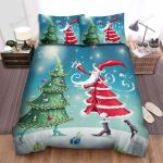 Christmas Tree Dancing With Santa Claus Bed Sheets Spread Duvet Cover Bedding Sets