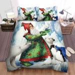 Santa Claus Releasing The Pigeon Bed Sheets Spread Duvet Cover Bedding Sets