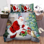 Santa Claus Putting Gift Bed Sheets Spread Duvet Cover Bedding Sets