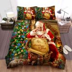 Santa Claus Reading His List Bed Sheets Spread Duvet Cover Bedding Sets