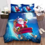 Santa Claus Laughing Loudly In The Sky Bed Sheets Spread Duvet Cover Bedding Sets