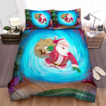 Santa Claus From Blue Hole Bed Sheets Spread Duvet Cover Bedding Sets