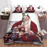 Santa Claus Playing With Super Heroes Bed Sheets Spread Duvet Cover Bedding Sets