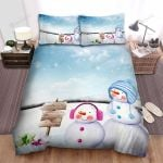 Pair Of The Snowman At Snowy Place Bed Sheets Spread Duvet Cover Bedding Sets