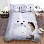 Snowman Bigger Than The Girl Bed Sheets Spread Duvet Cover Bedding Sets