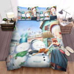 Snowman Waiting For Candies Bed Sheets Spread Duvet Cover Bedding Sets
