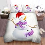 Purple Scarf Snowman Clipart Bed Sheets Spread Duvet Cover Bedding Sets