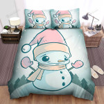 Snowman Wearing Pink Gloves And Hat Bed Sheets Spread Duvet Cover Bedding Sets