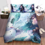 Winter Of Snowman And Girl Bed Sheets Spread Duvet Cover Bedding Sets