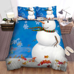 Winter Blowing Leaves To The Snowman Bed Sheets Spread Duvet Cover Bedding Sets