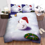 Christmas Circle Frame And Snowman Bed Sheets Spread Duvet Cover Bedding Sets