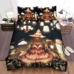 Halloween, Witch, Sitting With Lamps Bed Sheets Spread Duvet Cover Bedding Sets