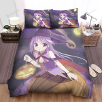 Halloween, Witch, Purple Hairs Witch With Pumpkin Basket Bed Sheets Spread Duvet Cover Bedding Sets