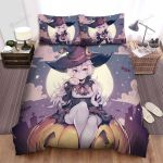 Halloween, Witch, Cute Witch And Candy Art Bed Sheets Spread Duvet Cover Bedding Sets