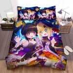 Halloween, Witch, 2 Girls With Colored Nails Art Bed Sheets Spread Duvet Cover Bedding Sets