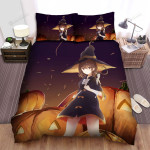 Halloween, Witch,  Protecting Her Pumpkins Art Bed Sheets Spread Duvet Cover Bedding Sets